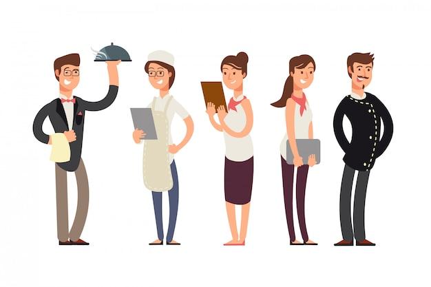 Personnages de dessins animés de chefs, sommeliers et serveuses. concept d'équipe de cuisine de restaurant Vecteur Premium