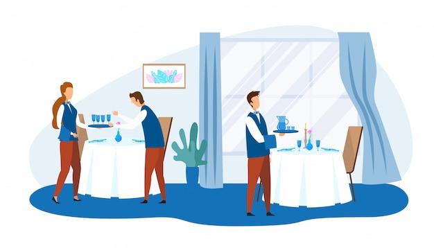 Personnages de dessins animés du personnel du restaurant au travail Vecteur Premium