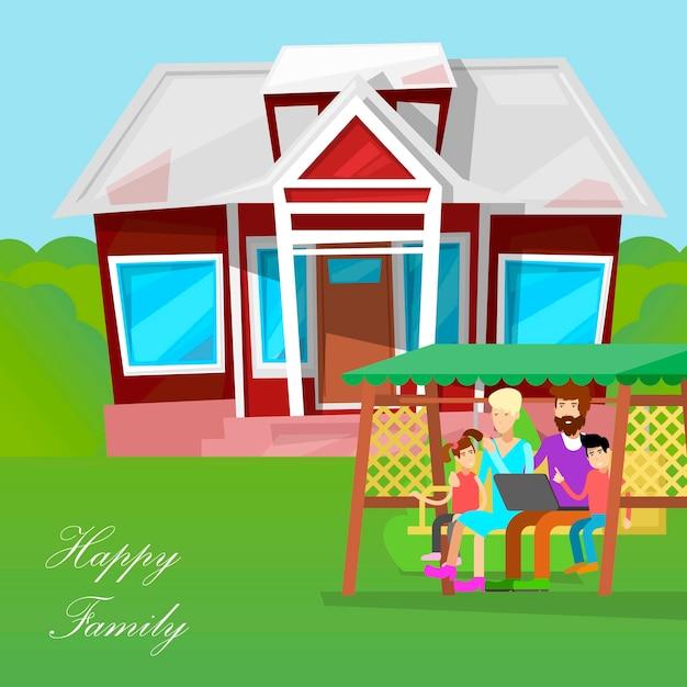 Personnages de dessins animés de famille heureux. Vecteur Premium