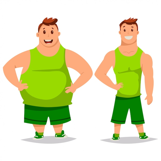 Personnages de dessins animés gros et mince homme isolés Vecteur Premium