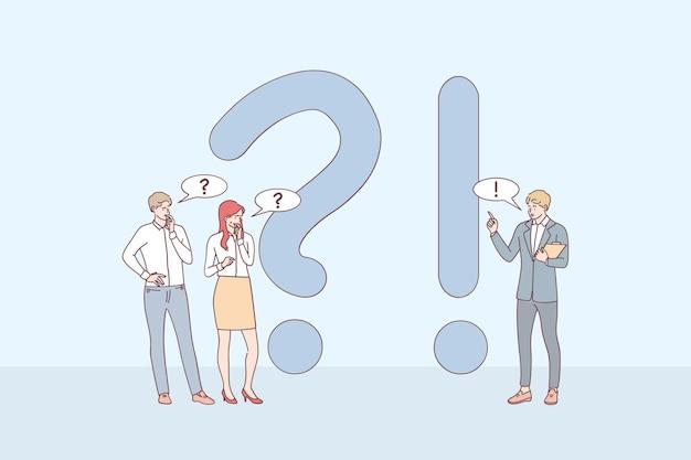 Personnages De Dessins Animés De Jeunes Gens D'affaires Debout Près D'exclamations Et De Points D'interrogation, Posant Des Questions Et Recevant Des Réponses En Ligne Vecteur Premium