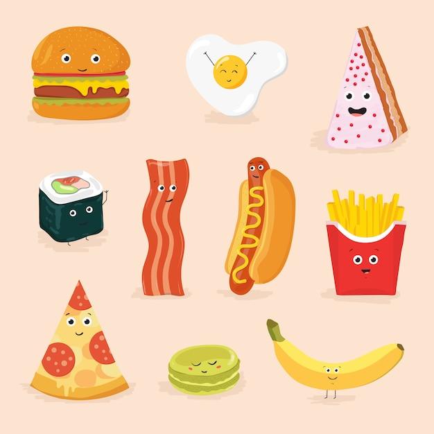 Personnages De Dessins Animés De Nourriture Drôle Illustration Isolée. Icône De Visage Pizza, Gâteau, œufs Brouillés, Bacon, Banane, Hamburger, Hot-dog, Rouleau, Frites. Vecteur Premium