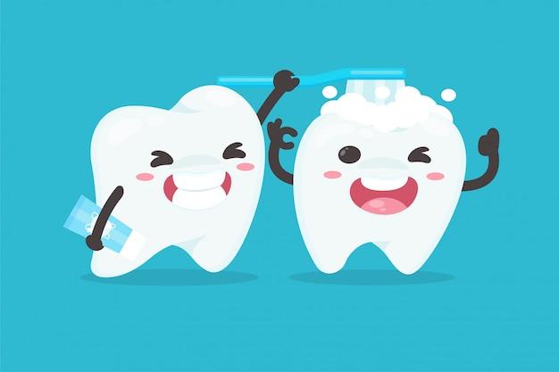 Personnages De Dessins Animés Se Brosser Les Dents Pour Nettoyer Leurs Dents Concept De Dentiste Dentaire. Vecteur Premium