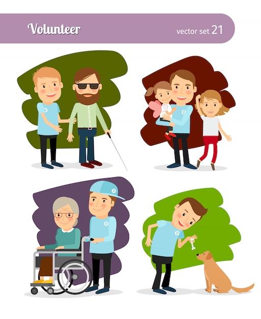 Personnages de dessins animés volontaires jeune homme Vecteur Premium