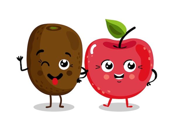 Personnages de dessins isolés de fruits drôles Vecteur Premium