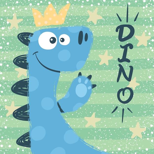 Personnages de dino mignons. illustration princesse Vecteur Premium