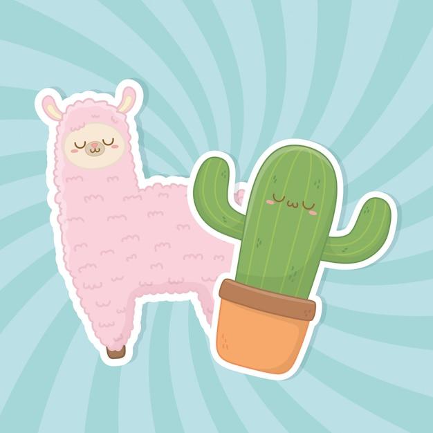 Personnages drôles de lama péruvien et de cactus kawaii Vecteur Premium