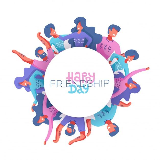 Personnages du cercle des amis comme symbole de la journée internationale de l'amitié Vecteur Premium