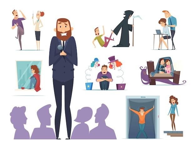 Personnages Effrayants. Diverses Peurs Des Personnages De Panique Nerveux Avec Expression Face à La Phobie Vecteur Premium