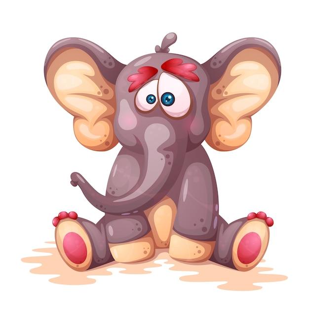 Personnages d'éléphant fou de dessin animé Vecteur Premium