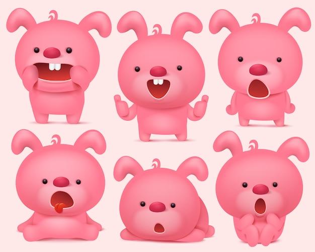 Personnages emoji de lapin rose sertie de différentes émotions. Vecteur Premium