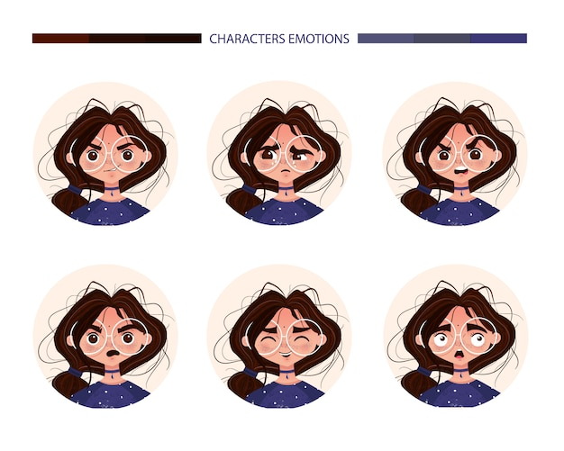 Personnages émotions avatar jolie fille brune à lunettes. emoji avec différentes expressions du visage de femme joie pleurs colère surprise surprise rire effroi. illustration vectorielle en style cartoon Vecteur gratuit