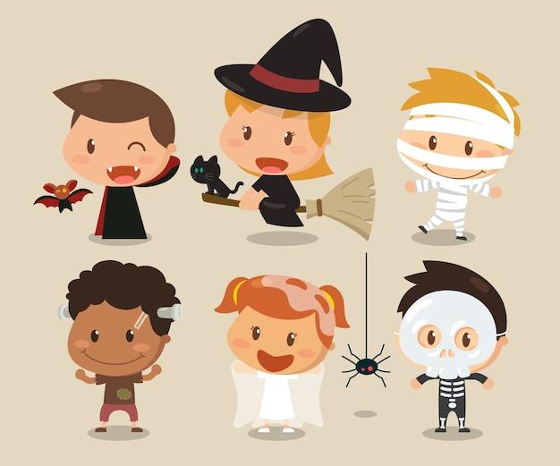 Personnages enfants et halloween. costumes d'halloween. Vecteur Premium