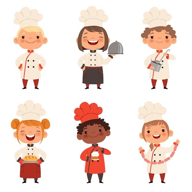 Personnages enfants préparent la nourriture Vecteur Premium