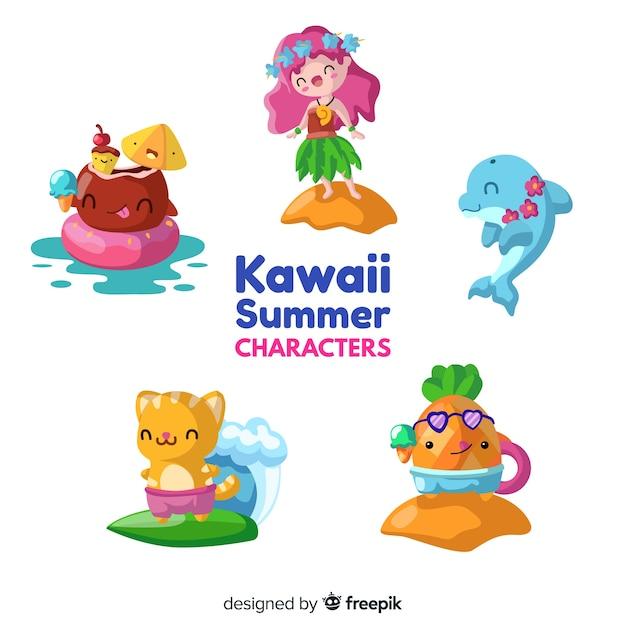 Personnages d'été kawaii Vecteur gratuit
