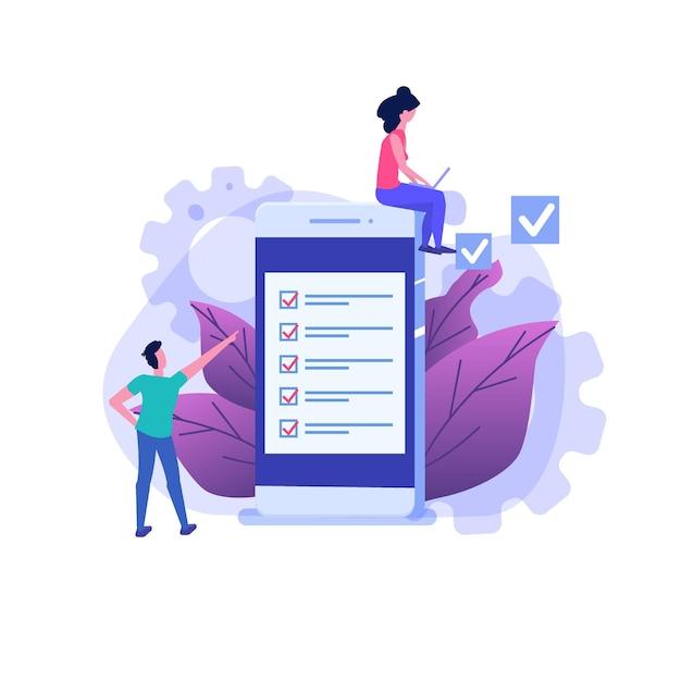 Personnages D'étudiants Qui étudient. Examen En Ligne, Concept De Quiz Internet. Vecteur Premium