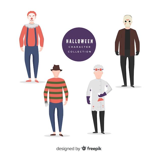 Personnages de films d'horreur pour halloween Vecteur gratuit