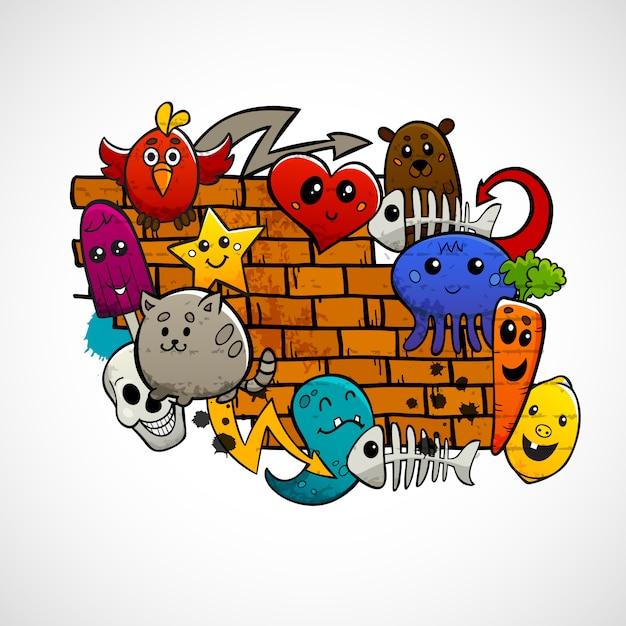 Personnages de graffitis, couleurs vives Vecteur gratuit