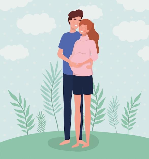 Personnages de grossesse couple amoureux mignons dans le paysage Vecteur gratuit