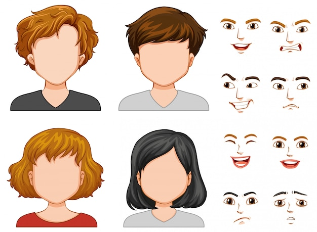 Personnages humains aux visages différents Vecteur Premium