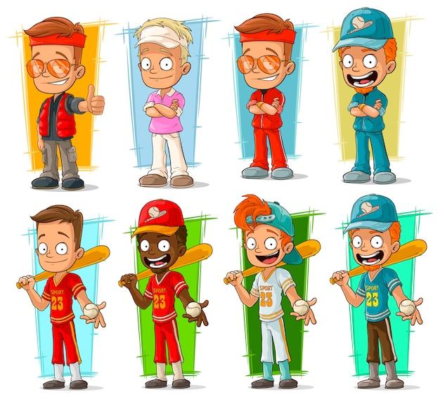 Personnages De Joueurs De Dessin Animé Sportifs Vecteur Premium