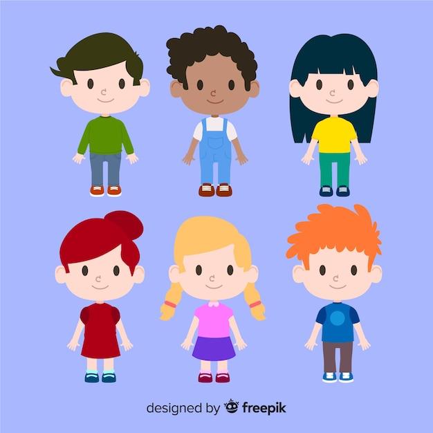 Personnages De La Journée Des Enfants Vecteur gratuit