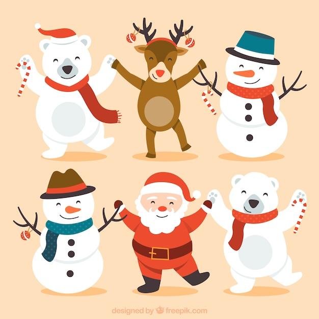 Personnages Joyeux Noël Mignon Vecteur Premium