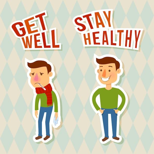 Personnages malades et en bonne santé. se rétablir. reste en bonne santé Vecteur Premium