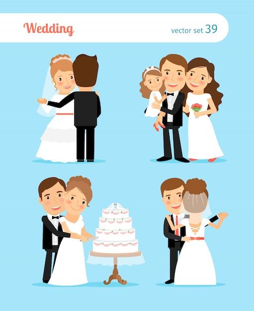 Personnages des mariés pour invitation de mariage Vecteur Premium