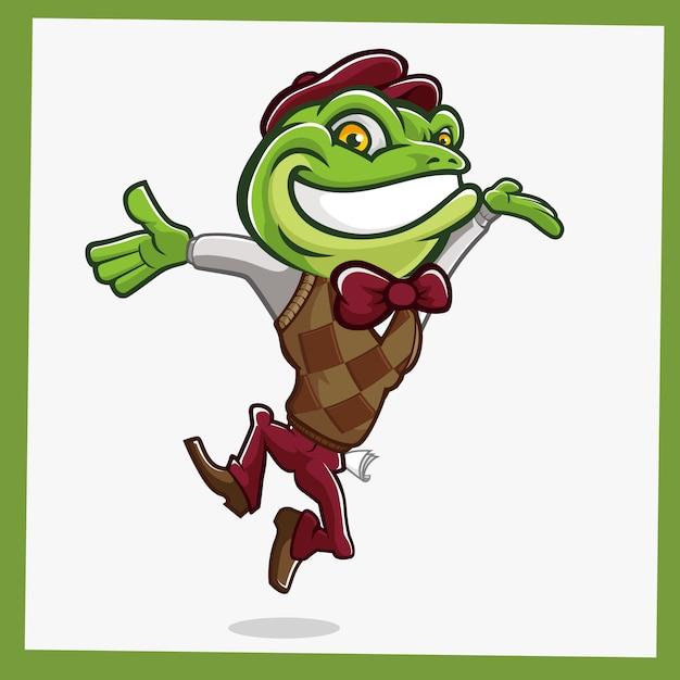 Personnages mascotte grenouille crapaud Vecteur Premium