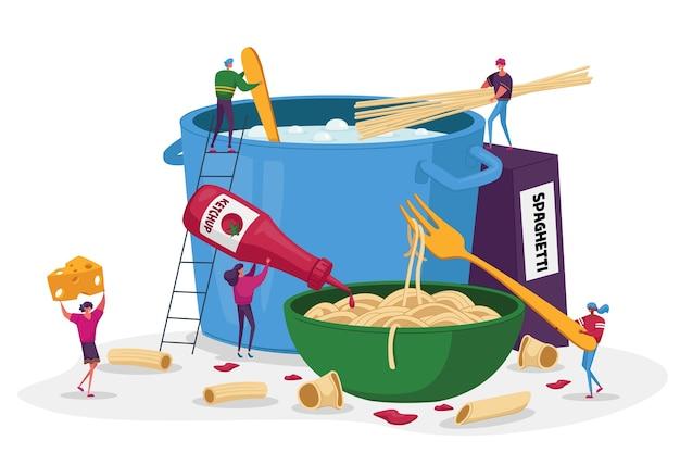 Personnages Masculins Et Féminins Faisant Cuire Des Pâtes Mettre Des Spaghettis Et Des Macaronis Dans Une Casserole Vecteur Premium