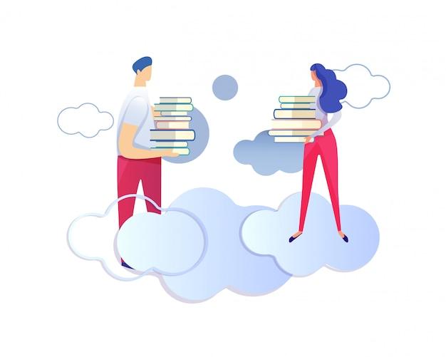 Personnages masculins et féminins tenant des tas de livres. Vecteur Premium