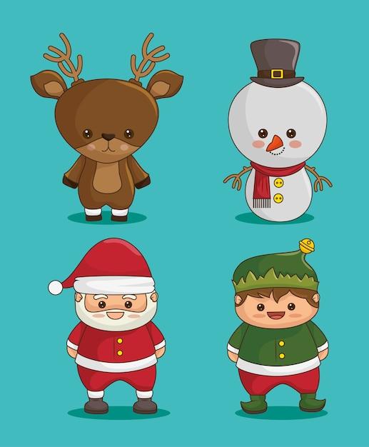 Personnages de noël: cerf, bonhomme de neige, père noël et elfe Vecteur gratuit