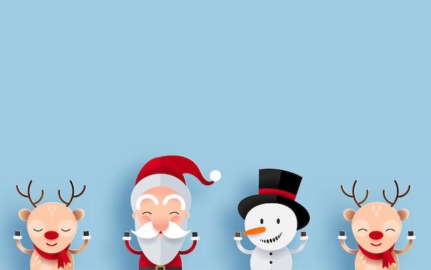 Personnages De Noël Heureux Avec Fond Pour Message D'accueil. Père Noël, Bonhomme De Neige Et Renne Vecteur gratuit