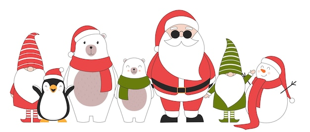 Personnages De Noël Mignons. Vecteur gratuit