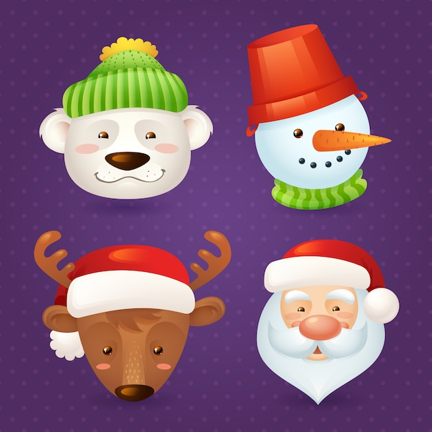 Personnages de noël mis isolé avec illustration vectorielle de père noël, cerf, bonhomme de neige et ours isolé Vecteur Premium
