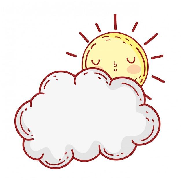 Personnages de nuages et soleil kawaii Vecteur Premium