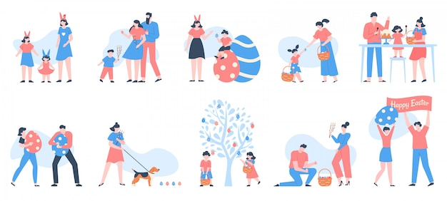Personnages De Pâques. Personnes Portant Des Paniers D'oeufs, De Fleurs Et De Bonbons, Célébrant La Famille Avec Des Enfants Heureux Au Jeu D'illustration De Chasse Aux œufs. Gens De Vacances De Pâques, Fête De Famille Vecteur Premium