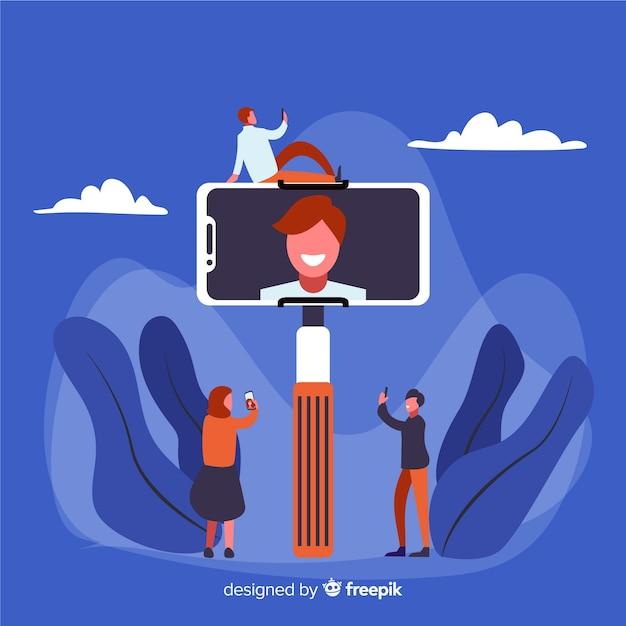 Personnages Partageant Des Selfies Sur Les Médias Sociaux Vecteur gratuit