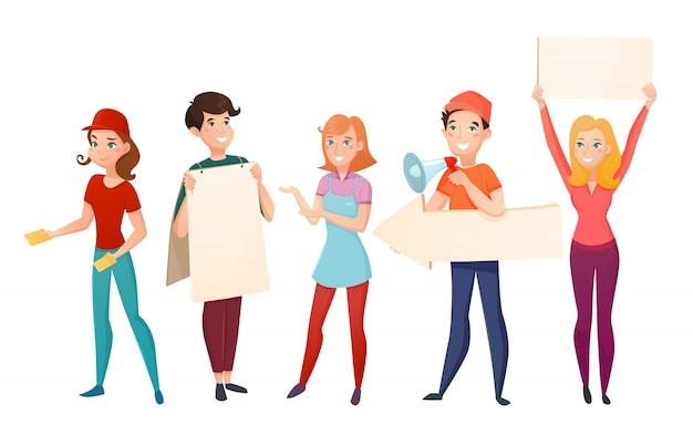Personnages de personnages de dessin animé de promoteurs Vecteur gratuit