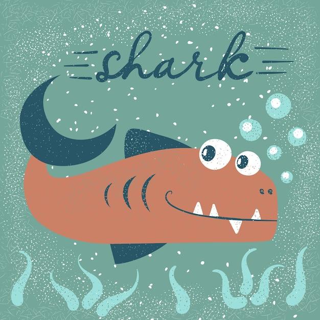 Des personnages de poissons drôles et mignons. illustration de dessin animé de mer Vecteur Premium