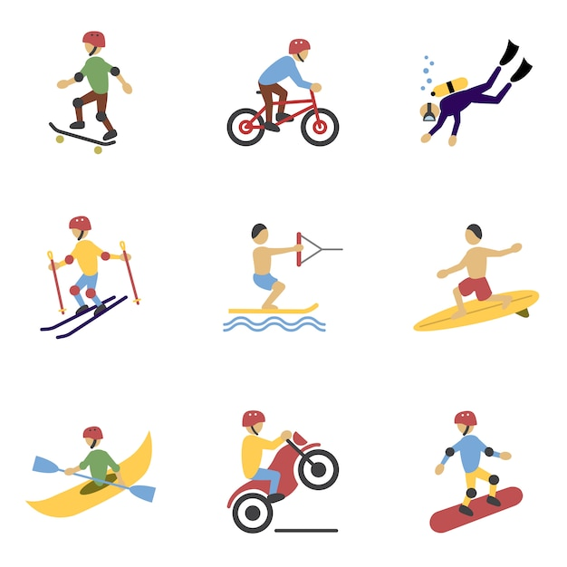 Personnages De Sports Extrêmes Vecteur gratuit