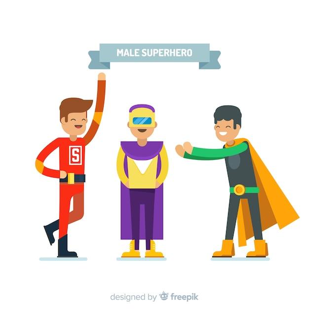 Personnages de super-héros masculins Vecteur gratuit