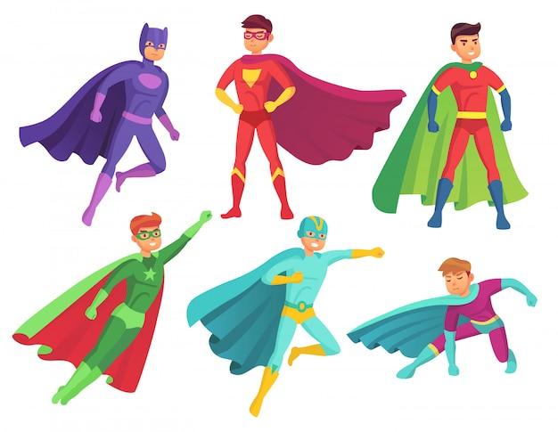 Personnages de super-héros Vecteur Premium