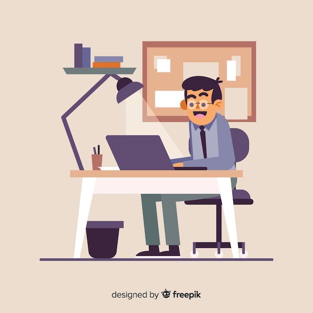 Personne assise au bureau et travaillant Vecteur gratuit