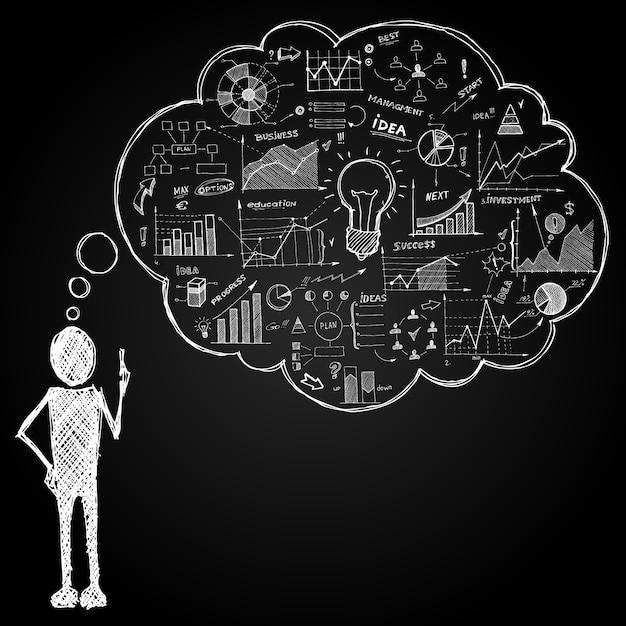 Personne avec bulle de dialogue doodle Vecteur gratuit