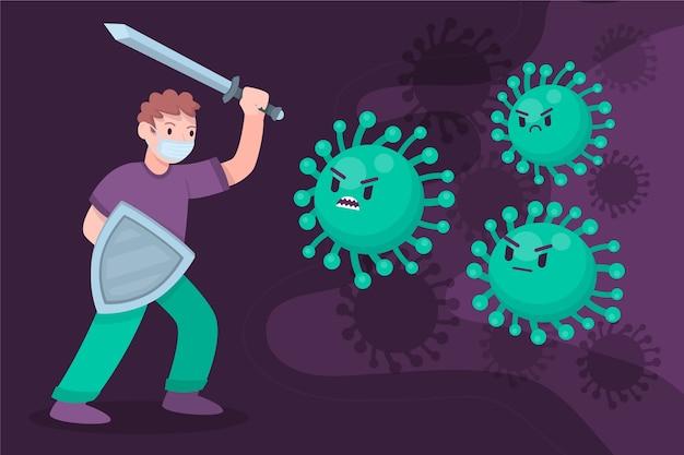 Personne Combattant Le Virus Illustrée Vecteur gratuit