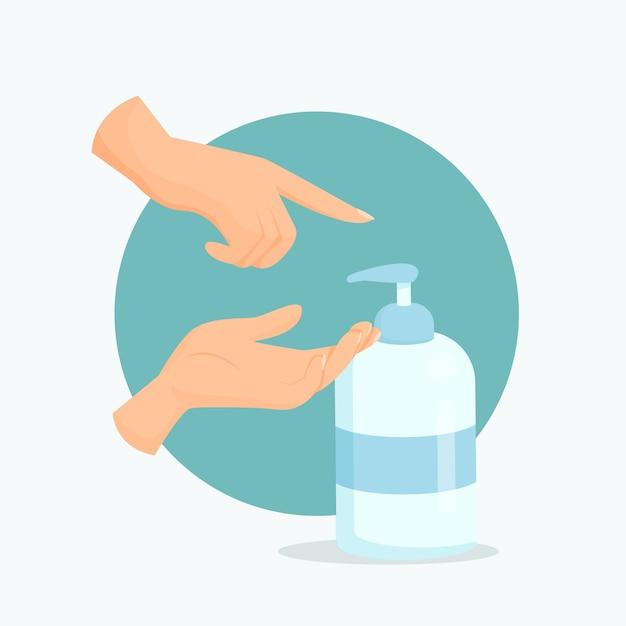 Personne De Conception Plate à L'aide D'un Désinfectant Pour Les Mains Vecteur gratuit