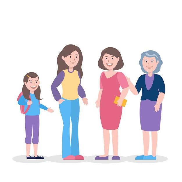 Une Personne Dans Différents âges Illustration Concept Vecteur gratuit