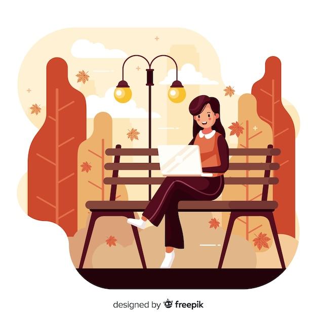 Personne dans un parc en automne Vecteur gratuit
